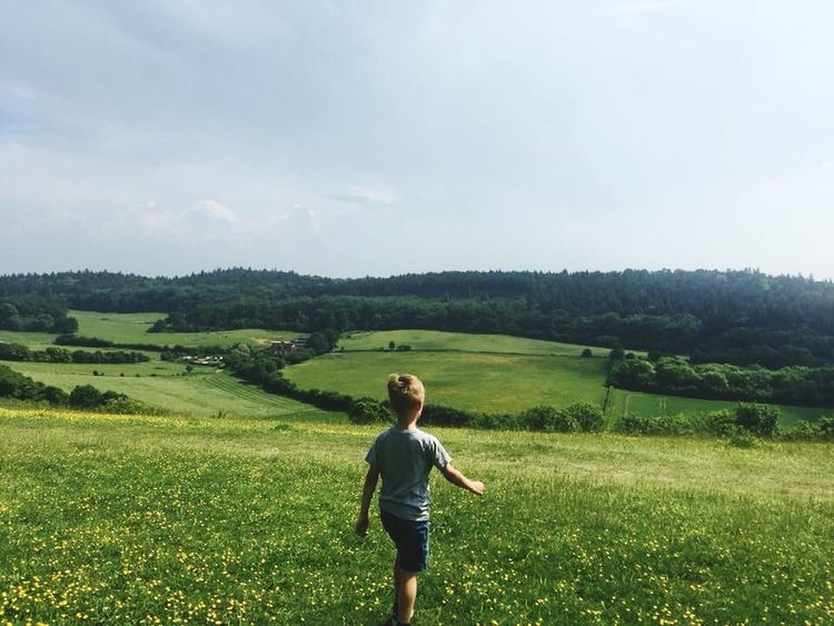 Freedom #journey #free #beauty #surreyhills #pewleydown One Person Field Land Beauty In Nature Landscape Sky