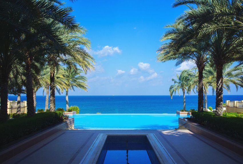 The vanishing pool at Shangri-La Al Husn Luxury Hotel Visit Oman Muscat , Oman Sea And Sky
