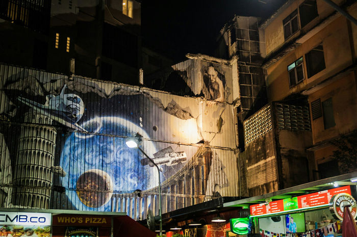 Smeagol, is that you? Night Illuminated No People City Nightlife Architecture Outdoors Travel Travel Destinations Streetart Street Art Mural Mural Art