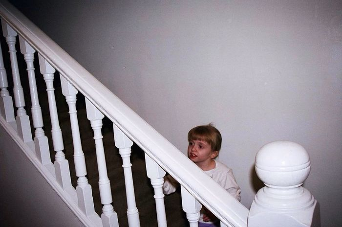 What I Value Autism Awareness lmy ittle sister, autistic, awaits us on the stairs, studying us