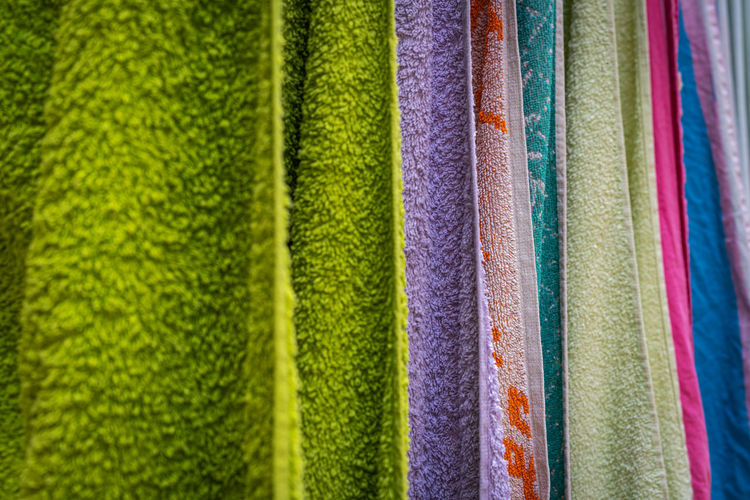 Full frame shot of multi colored towels