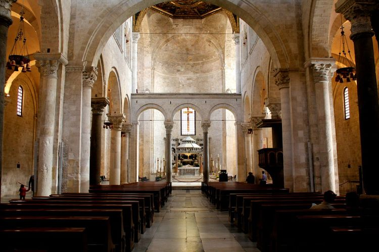 Church Religion Arch Place Of Worship Architectural Column Spirituality Indoors  History Tourism Pew Architecture Altar Travel Destinations No People Day City City Life Flying High People Flame San Nicola Bari ❤