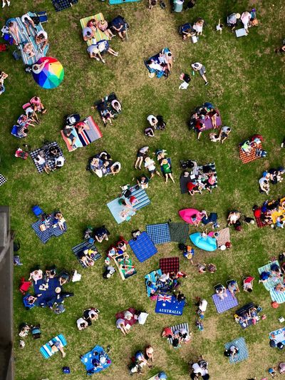 australia day Australiaday Sydney Australia Large Group Of People Grass High Angle View Outdoors Day Field Crowd Enjoyment People Sitting Nature Mobility In Mega Cities