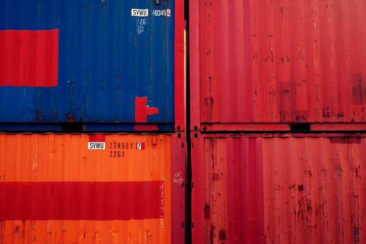 Blue Colors Container Finkenwerder Four Hamburg Orange Port Red Stacked