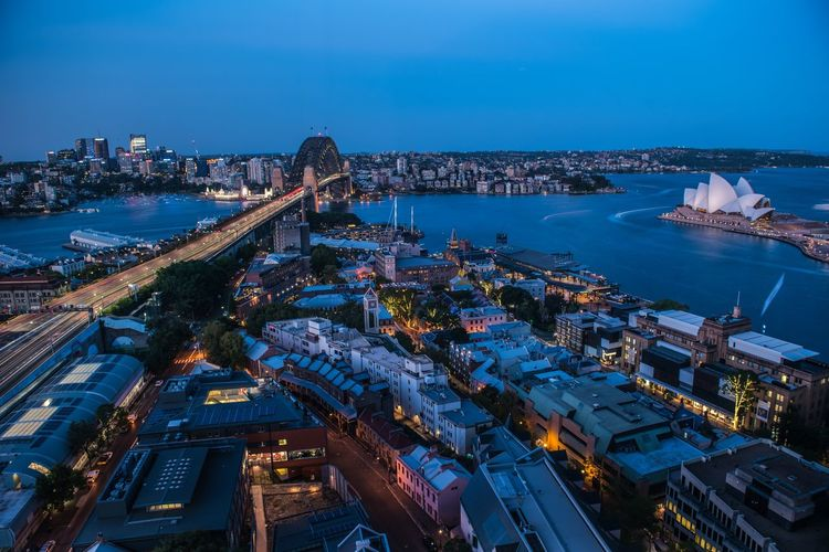 Sydney blue hour Architecture Building Exterior City Built Structure Water Sky Cityscape Sea Nature Mode Of Transportation Nautical Vessel Travel Destinations Illuminated No People Transportation High Angle View Night Building Dusk Office Building Exterior