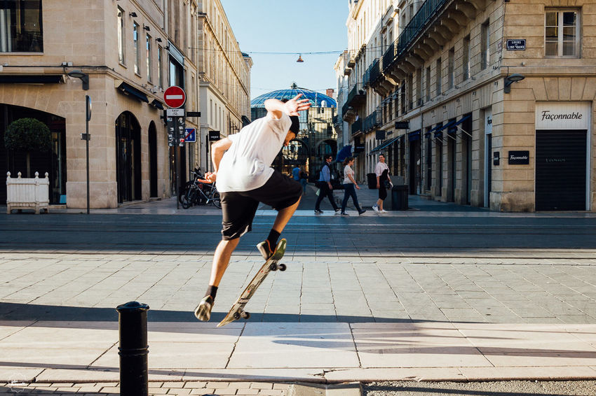 Architecture City City Life Day Leisure Activity Lifestyles One Man Only One Person Outdoors Skateboarding Sport Street