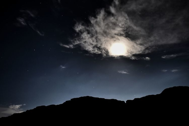 Sky Night Scenics - Nature Cloud - Sky Beauty In Nature Silhouette Tranquil Scene Tranquility Mountain Nature Star - Space No People Low Angle View Idyllic Environment Space Outdoors Astronomy Landscape Non-urban Scene Dark