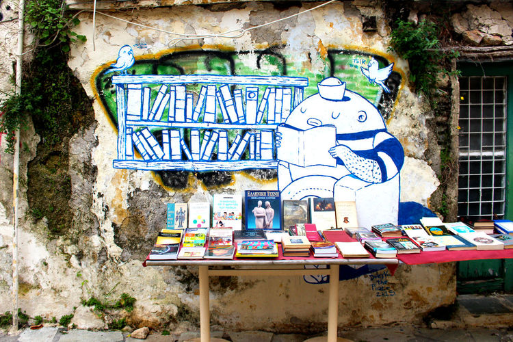 Art Athens Athens, Greece Book Shops Books Day Greece No People Reading Reading A Book Sailor Street Art Streetart Streetart/graffiti StreetArtEverywhere Streetphotography Urban Decay Urban Scene Wall
