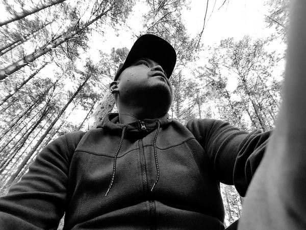lost in the forest #hiking #JustMe #outfit #OOTD #photography Low Angle View One Person Day One Man Only Men Adult Only Men Young Adult Outdoors People Adults Only Sky