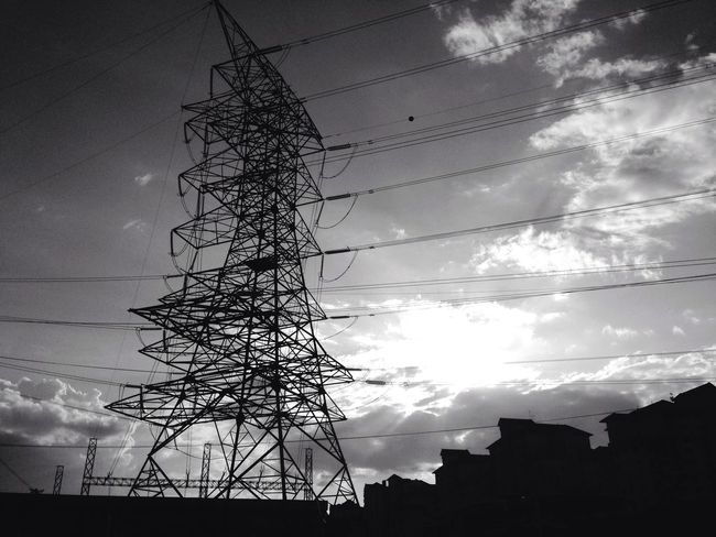 Human Network Sky And Clouds Electricity  Blackandwhite Simple Photography Streetphotography Powerlines Telecommunications Kuala Lumpur City Malaysia Noirphotography