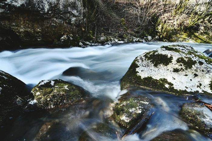 Water Nature Beauty In Nature Landscape Tranquility Flowing Water River Tree Scenics Long Exposure Freshness Motion Forest Rock - Object No People Waterfall Outdoors Stream - Flowing Water Day Lush - Description