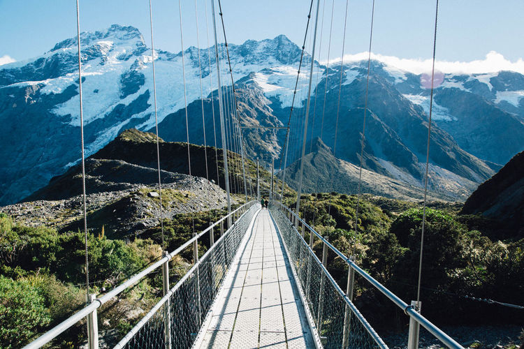 Suspension bridge against mount cook at hooker valley track