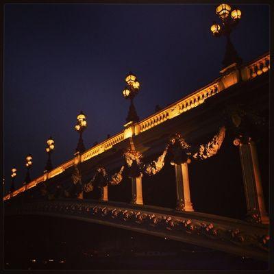 Paris Seine Bridge Night Lights