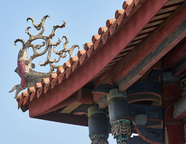 Fort Provintia, Tainan, Taiwan (April 2018) Wood - Material Vivid Tainan Taiwan Chinese Historical Building Historic Chinese Style Traditional Landmark Roof Tiles Fort Provintia Eaves Looking Up Low Angle View Sky Architecture Built Structure Day No People Building Art And Craft Clear Sky Building Exterior Architectural Column Ornate