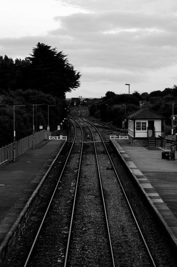 Railroad Track Landscape Photography Blackandwhite Black And White Par Cornwall England