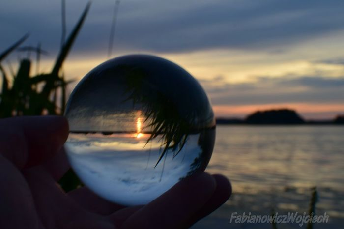 Sunset Reflection Crystal Ball Close-up Dusk Sky Nature No People Water Sea Outdoors Day Astronomy