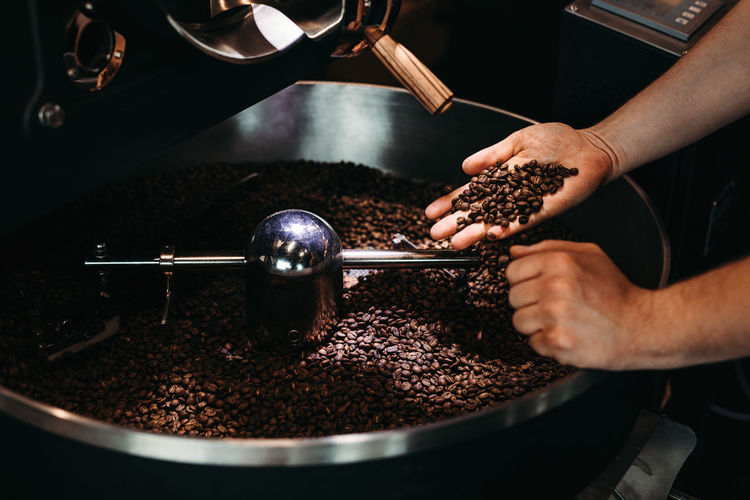 Cropped hand of man holding coffee beans over cooling rack in roaster