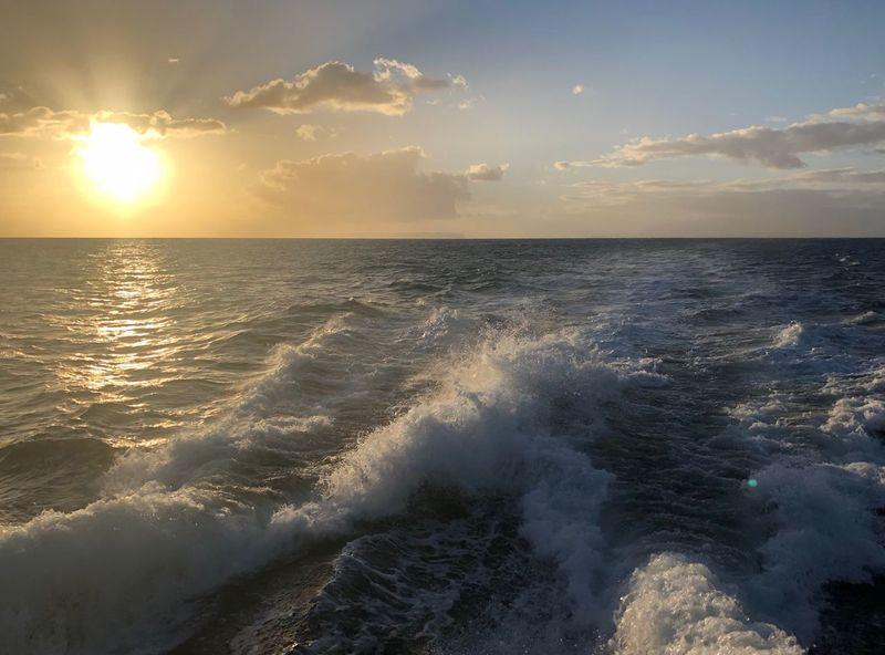 Hawaii Kauai Sunset Sunlight Sunbeam Sea Water Beauty In Nature Scenics Nature Horizon Over Water Tranquil Scene Tranquility Sky Idyllic Wave Reflection No People Sun Sunlight Beach Outdoors Waterfront Motion Pacific Ocean
