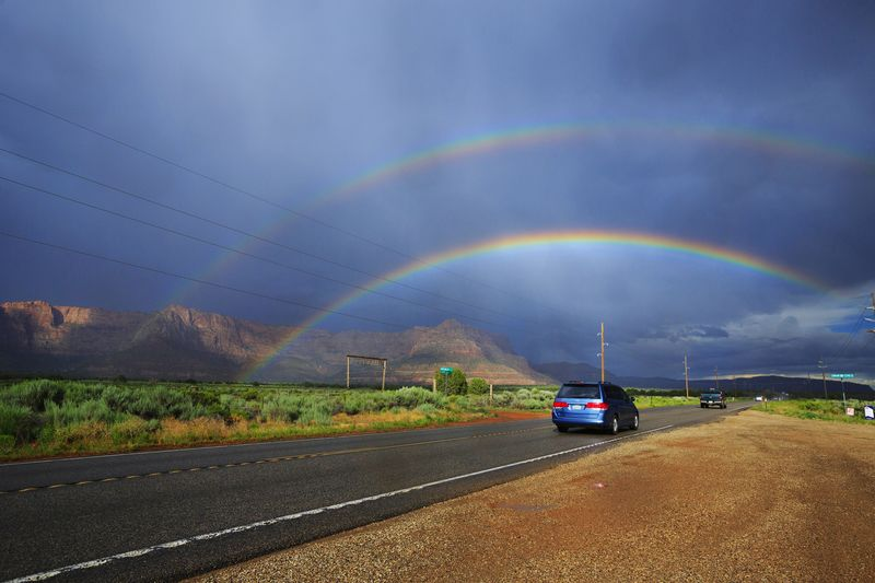 Double Rainbow Stormy Weather Utah Storms Stormscape Rainbows Clouds And Sky EyeEm Nature Lover Eye4photography  Canon Natural Beauty Canon 5d Mark Lll Roadside America Roadside Roadscape Roads Highwayscape