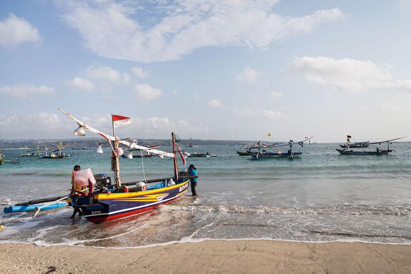 Beach Boat Boats Fisherman Sea Water