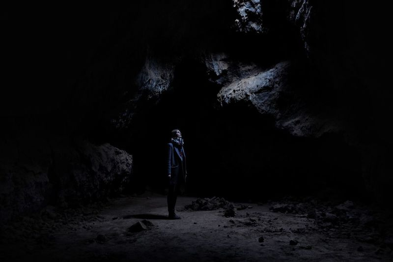 Full length of woman in cave