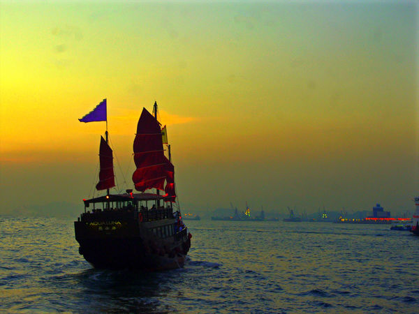 Architecture Beauty In Nature Day Flag Hong Kong Horizon Over Water Junk Nature Nautical Vessel No People Outdoors Sailing Scenics Sea Sky Sunset Transportation Victoria Harbour Water Waterfront
