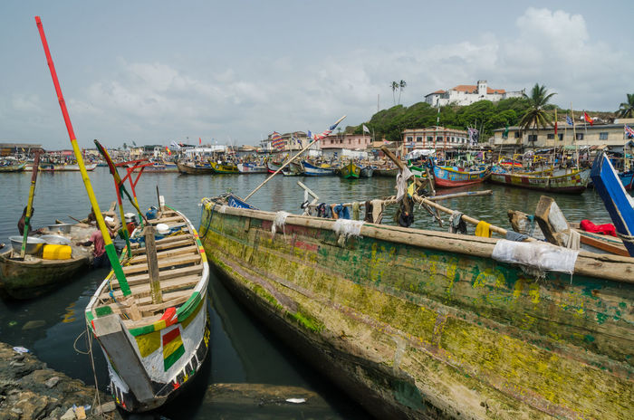 Elmina Harbour Harbor Fishing Boats Africa Ghana African Fishing Boat Flags Colonial Architecture Colonial Castle