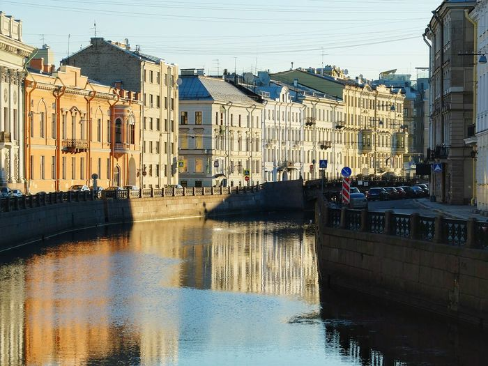 Reflection Building Exterior Built Structure Water Architecture City Sky People Outdoors Adult Cityscape Day Saint-Petersburg Saint Petersburg Spb River Reflections In The Water Downtown District Moyka River Sunrise City Centre Spring