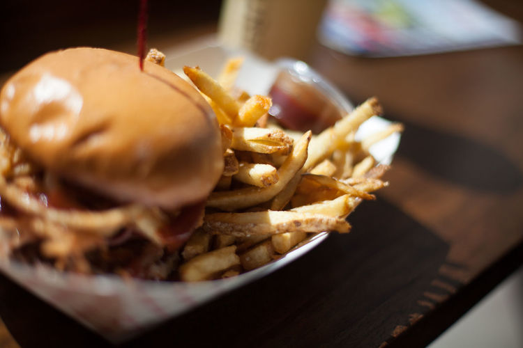 Burger With French Fries On Paper Plate