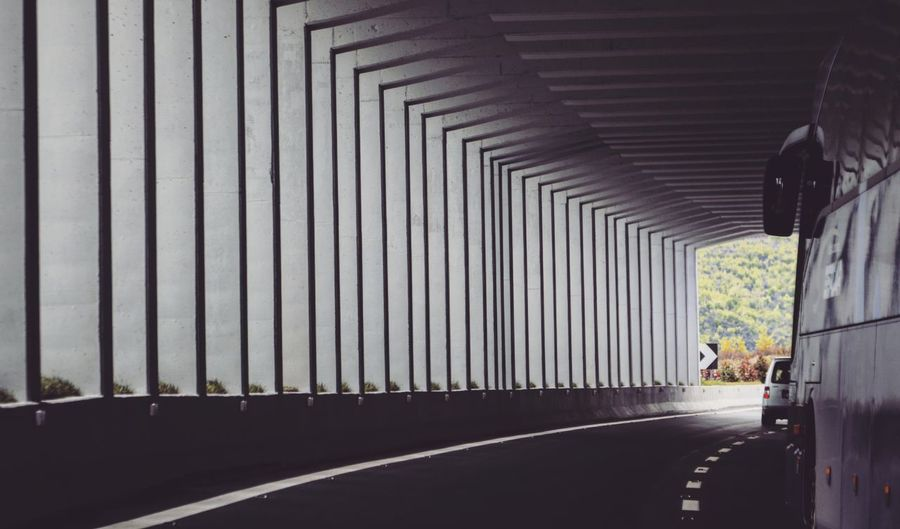 Tunnel Monochromatic Black And White Light And Shadow EyeEm Best Shots On The Road Traveling Travelling Road Architecture Built Structure Land Vehicle Vehicle Moving