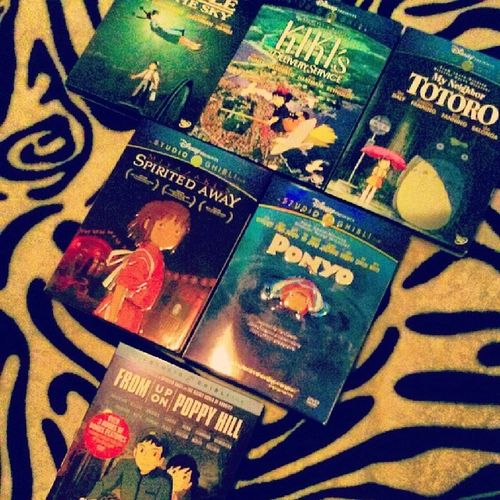 My collection of Studio Ghibli films! :D Thanks to @_thomassss @nancy088 and Kathy!<333 Castleinthesky Kikisdeliveryservice Myneighbortotoro Spiritedaway  ponyo fromuponpoppyhill