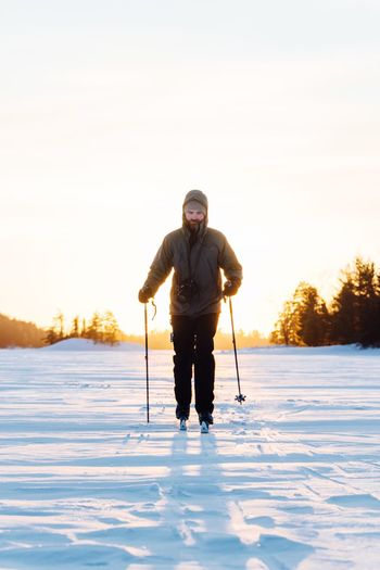 Copy Space Golden Hour EyeEm Selects Winter Cold Temperature Snow Ski Pole Winter Sport One Person Full Length Leisure Activity Adult Ski Holiday Sport One Man Only Warm Clothing People Outdoors Weekend Activities Fun Adults Only Frozen Only Men