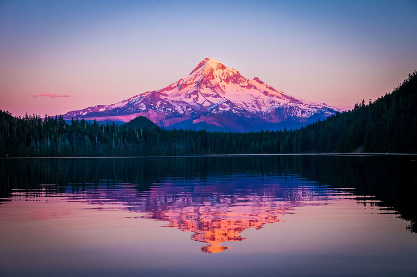 Mount Hood, Oregon, USA Beauty In Nature Cold Temperature Idyllic Lake Mountain Mountain Peak Mountain Range Nature No People Outdoors Purple Reflection Reflection Lake Scenics - Nature Sky Snow Snowcapped Mountain Tranquil Scene Tranquility Water Waterfront Winter