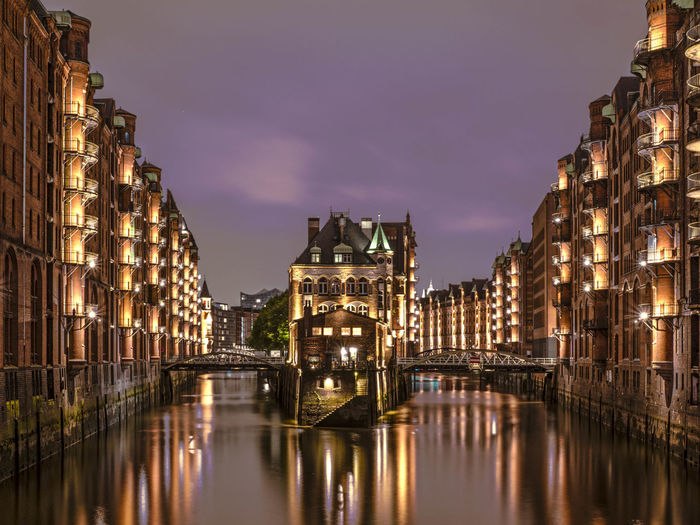 HUAWEI Photo Award: After Dark Wasserschloß Hamburg Architecture Bridge Bridge - Man Made Structure Building Building Exterior Built Structure Canal City Cityscape Cloud - Sky Connection Dusk Illuminated Nature Night No People Reflection Sky Travel Destinations Water Waterfront