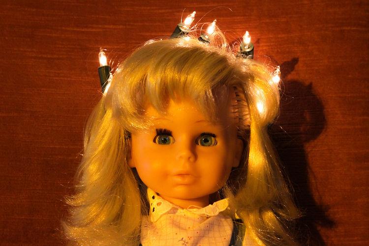 Close-up of doll with illuminated light