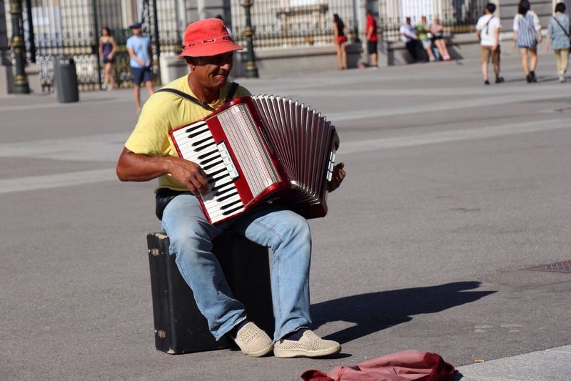 Street Musician Enjoying Life Hanging Out at Madrid,spain
