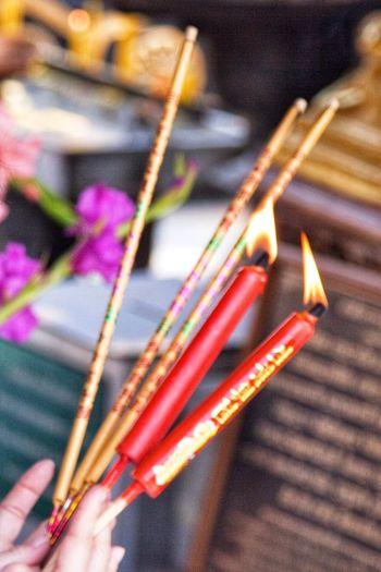 Buddhist Prayers Thailand Buddhist Shrine EyeEm Selects Indoors  Close-up Focus On Foreground Day No People