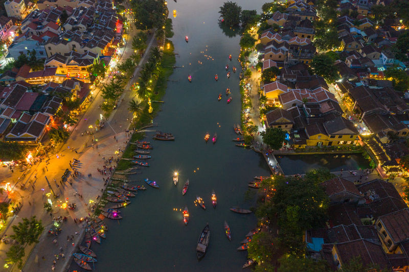 High angle view of Hoi An ancient town at night High Angle View City Architecture Illuminated Building Exterior Built Structure Tree Water Nature No People Plant Street Building Transportation Night Aerial View Outdoors Town Cityscape Vietnam Hoi An Hoi An By Night Nightphotography Night Photography Ancient Town Old Town Top View Nightlife River Yellow House  Boat Hoian