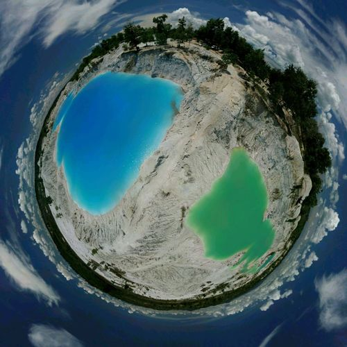 Kulong Biru Air Bara Tiny Planet Aerial View Water Cloud - Sky Clouds And Sky Cloud Bangkabelitung Bangka Belitung Bangka Bangka Island DJI Mavic Pro Beauty In Nature Beach Day High Angle View Go Higher