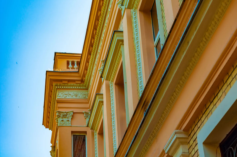 Architectural Column Architecture Building Building Exterior Built Structure Ceiling City Clear Sky Day Design Gold Colored House Low Angle View Nature No People Outdoors Pattern Sky Wall - Building Feature Wood - Material Yellow
