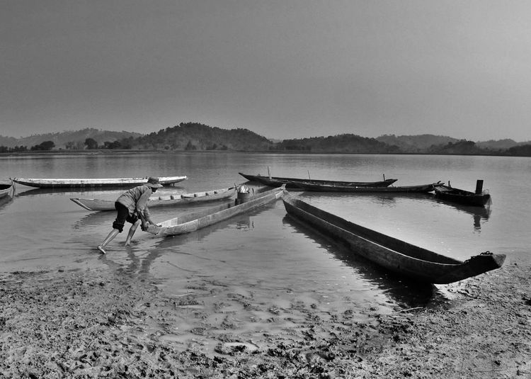 Lak lake morning Vietnam Travel Destinations Travel Photography Trip Photo Blackandwhite Photography Black And White Blackandwhite Black And White Photography Dugout Dug-out Canoe Fisherman
