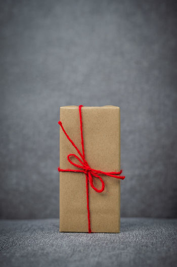 Close-up of red wrapped in box