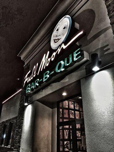 Full Moon Bar-B-Que. Fullmoonbarbque Sign Restaurant