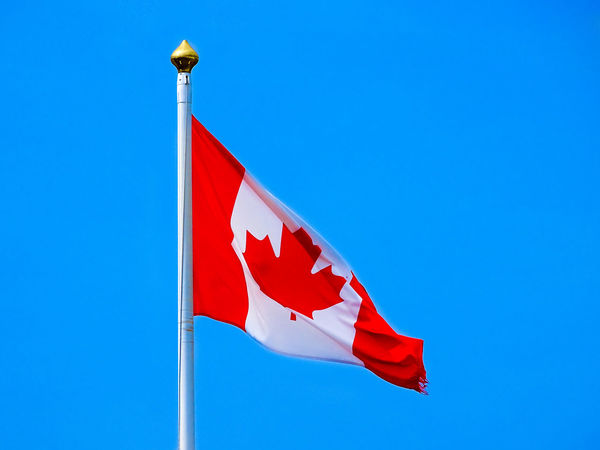 Canadian Canadian Flag Canadian Flag Whipping In The Wind CanadianFlag Blue Canada Canada Flag Clear Sky Day Flag Flag In The Wind Low Angle View Maple Leaf No People Outdoors Patriotism Red Sky