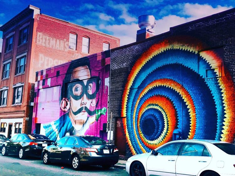 Multi Colored Built Structure Street Art Outdoors Sky Cloud - Sky EyeEm Ready   AI Now An Eye For Travel Mobility In Mega Cities Colour Your Horizn