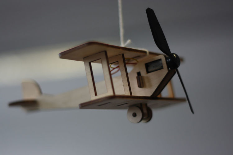 Low angle view of  toy airplane