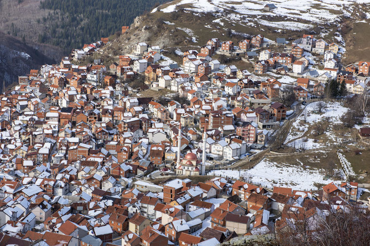 High angle view of townscape and buildings in city