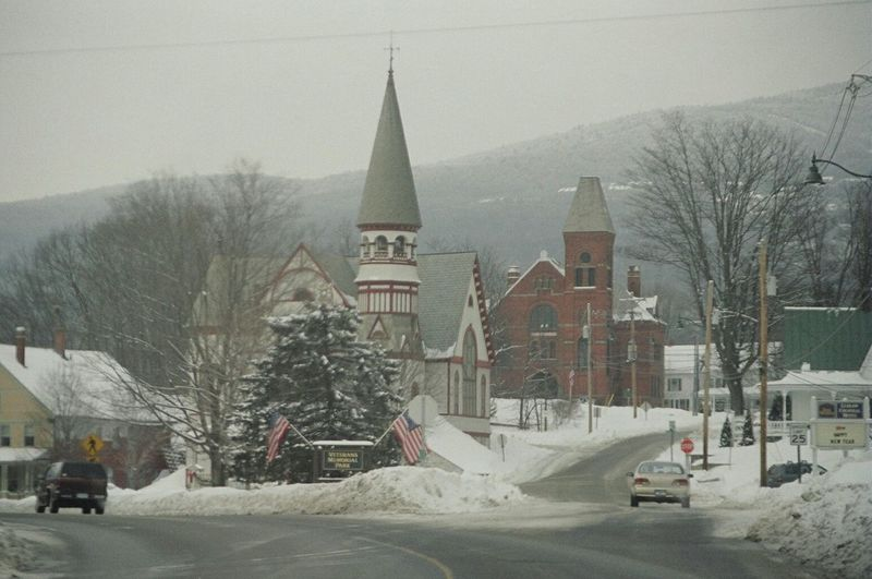 Snow Winter Cold Temperature Snowing Architecture Weather Travel Destinations Outdoors Building Exterior Frozen No People Snowflake Day Built_Structure Nature Sky Cultures City Tree Frost Vermont_scenery Vermontwinter Vermont, USA Quaint  Quaint Village Let's Go. Together.