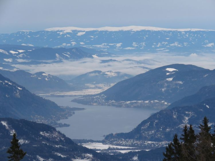 Lake Ossiachersee Ossiacher See Carinthia Mountain Pinaceae Snow Mountain Range Landscape Nature Scenics Mountain Peak Outdoors Shades Of Winter