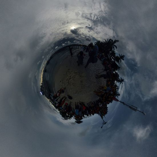 Little Planet view of Tanjung Kelayang Beach during a full Total Solar Eclipse, March 9th 2016 at Tanjung Kelayang Beach, Belitung, Indonesia Solar Eclipse Solareclipse2016 Belitung INDONESIA First Eyeem Photo